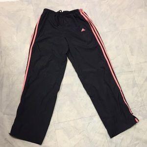 Adidas pink stripe track pants